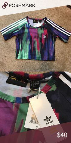 Adidas multi color crop top. Super cute! New with tags. Adidas Tops Crop Tops