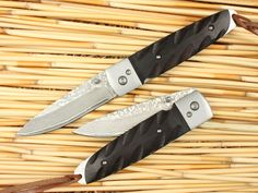 Ebony Wood Handle Scales Damascus Steel Blade Collectible Folding Knife 1382