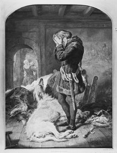 Gourlay Steell (1819-94) - LLywelyn (1173-1240) and his Brave Hound, Gelert