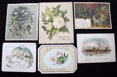 6 x Antique Victorian Printed Christmas Greeting Cards - Flower Designs  | eBay