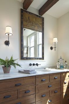 Powder Rooms, How To Antique Wood, Double Vanity, Baths, Bathrooms, Marble, Mirror, Antiques, House