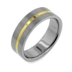 $207 - 7mm Gold Tone Stripe Titanium Wedding Band Ring