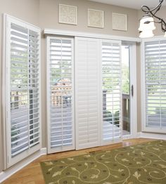 Problem: Too much light and no privacy with sliding glass doors. Solution: Polywood Shutters. #slidingdoor #interiorshutters #whiteshutters