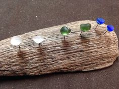 Set of 3 sea glass stud earrings on Etsy, $15.00