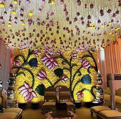Desi Wedding Decor, Wedding Stage Decorations, Engagement Decorations, Backdrop Decorations, Flower Decorations, Wedding Backdrops, Valentine Decorations, Flower Garland Wedding, Mehndi Decor