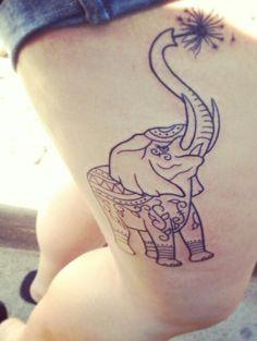 My elephant tattoo #elephant #tattoo #flower
