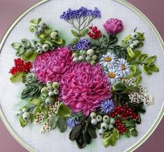 Ribbon-Art.net - Gallery of artwork - gallery of works embroidery silk ribbons samples and examples #Ribbonembroideryandcrafts