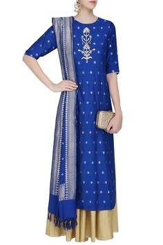 Blue gota patti embroidered kurta with off white sharara pants available only at Pernia's Pop Up Shop.