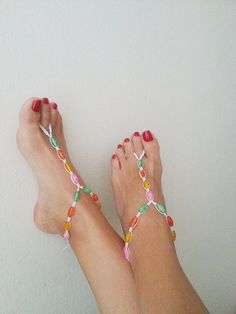 Colored glass beads macrame Foot jewelry Anklet by ArtofAccessory, $15.00