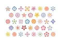"Atelier RiLi   アトリエ リリ ""Flower Heads   色とりどりの花柄""___ #art #design #illustration #pattern #flower   #アート #デザイン #イラスト #パターン #植物 #花"