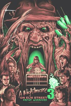 Horror Movie Poster Art : A Nightmare On Elm Street 3 Dream Warriors Horror Icons, Horror Movie Posters, Movie Poster Art, Arte Horror, Horror Art, Freddy Krueger, Culture Pop, Geek Culture, Real Life Horror Stories