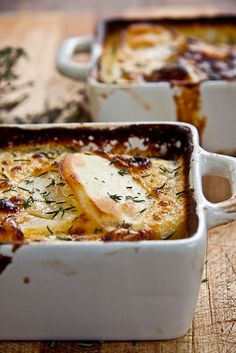 Ultimate Potato Bake Au Gratin - potatoes, cream, milk, Cream of Chicken soup powder, garlic, nutmeg, fresh thyme, S&P, grated cheese