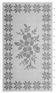 Filet crochet chart for a rose Filet Crochet Charts, Crochet Borders, Crochet Cross, Crochet Diagram, Thread Crochet, Crochet Motif, Crochet Doilies, Crochet Stitches, Crochet Alphabet