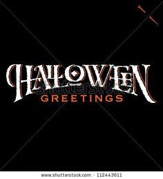 'Halloween Greetings' hand lettering, vector (eps8) - stock vector