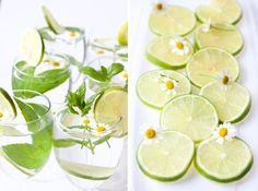 transforming ordinary water with mint, lime, and a teensy tiny daisy garnish that makes it just right! #bitesandsips #pinterest