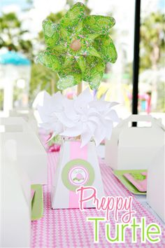 Lilly Pulitzer-inspired preppy turtle party...Anna Grace's next birthday party I think :-)