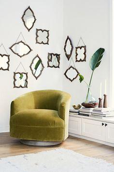 """Velvet Amoret Swivel Chair  31""""H, 34""""W, 36""""D"""