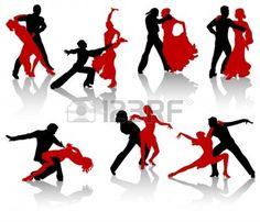 Silhouettes Of The Pairs Dancing Ballroom Dances. A Waltz, A Tango, A Foxtrot.   Photographe: Rey Kamensky