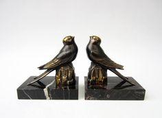 French ancient BOOKENDS⎮brass BIRD SPARROW statuette⎮black marble⎮Art deco Art nouveau⎮mid century modern retro⎮set of 2