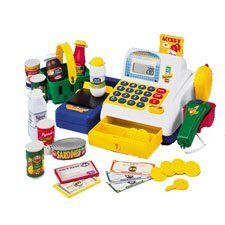 "Supermarket Cash Register by ConstructivePlaythings. $27.99. Everything for realistic play in a functioning calculator cash register with beeping scanner, pop-up credit card, push and slide belt, basket of groceries, money and more. Uses 2 ""AA"" batteries (incl.) Ages 3 yrs. +."