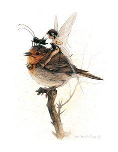 J'adore (SIGNÉ Fine Art Print  TINKERBELL Robin  par StudioJBMongeGoblin, $25.00)