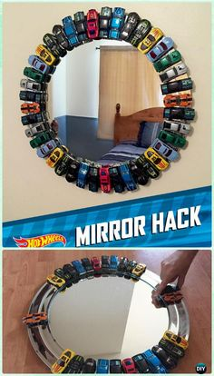 DIY Decorative Mirror Frame Ideas and Projects [Picture Instructions] DIY Toy Car Mirror Frame Instruction -. Mirror Crafts, Diy Mirror, Sunburst Mirror, Diy Toys Car, Kids Mirrors, Wall Mirrors, Diy Chandelier, Diy For Kids, Home Crafts