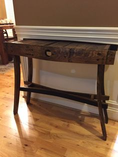 Bourbon barrel entry table by bEcustomwooddesigns on Etsy https://www.etsy.com/listing/262761904/bourbon-barrel-entry-table