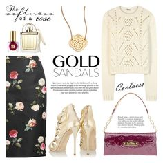 """Gold sandals"" by mada-malureanu ❤ liked on Polyvore featuring N°21, Miu Miu, Oscar de la Renta, Louis Vuitton, Ginette NY, H&M, Alasdair, Estée Lauder, Chloé and goldsandals"
