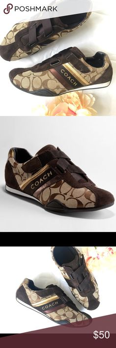 COACH SIGNATURE JENNY SHOES! LIKE NEW Coach Jenny signature shoe in brown with signature colors and C's. 100% authentic! Worn once, but you'd never tell. Excellent condition! Coach Shoes