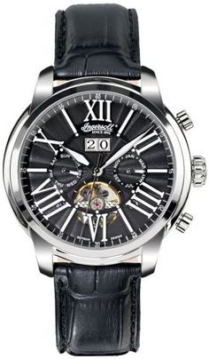 Special Offers Available Click Image Above: Ingersoll Mens Nashville Chronograph Stainless Watch - Black Leather Strap - Black Dial - In1815bk