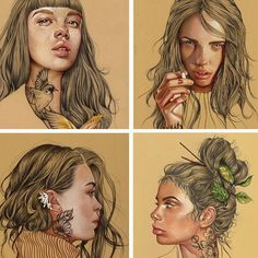 Buen finde! #illustration #elenapanc #love #ilustración #pastel #portrait #woman #tattoo #nice #beauty #work by elenapanc