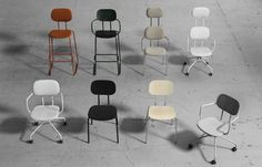 New School - classic school chair, office chair, café chair Cafe Chairs, Dining Chairs, School Chairs, Swedish Design, School Office, Design Awards, Furniture, Home Decor, Swivel Chair