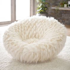 PB Teen Llama Faux-Fur Groovey Swivel Chair ($399) ❤ liked on Polyvore featuring home, furniture, chairs, swivel furniture, pbteen, pbteen chairs, faux fur furniture and swivel chairs