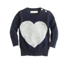 "We heart J.Crew for giving us a break from all the pink and red with their ""heart me"" cashmere baby sweater."