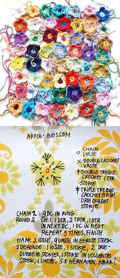 Crochet Tiny Flower - Chart ❥ 4U // hf