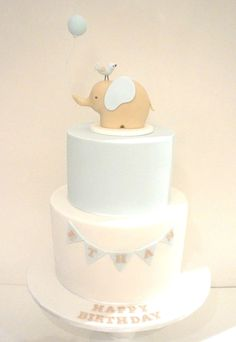 Original design from Cake Avenue, colour replica from Sweet Tiers. Cake made by Cake Envy Melbourne. Boy And Bird, Elephant Cakes, Fashion Cakes, Wedding Candy, Cute Cakes, Boy Birthday, Birthday Cakes, Baby Crafts, Cake Art