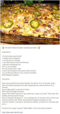The Best Mexican Beef Casserole Ever - Quick And Easy Recipes - Mexican Beef Casserole, Mexican Lasagna, Taco Bake Casserole, Enchilada Casserole Beef, Ground Beef Casserole, Casseroles With Ground Beef, Cheap Casserole Recipes, Cajun Lasagna, King Ranch Chicken Casserole