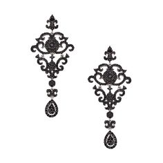 Yobrevol Silver and Black Spinel Fancy Dangle Drop Earrings ($395) found on Polyvore