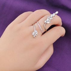 One Size Adjustable Finger Ring Marquise Zircon White Copper Plated Gift R973 #Bearfamilybirth #Cocktail