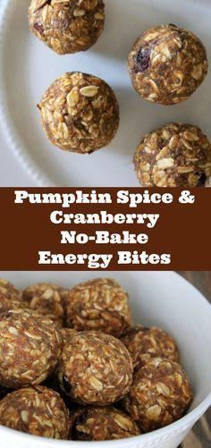 Pumpkin Spice and Cranberry No-bake energy bites recipe. This pumpkin energy balls are a delicious healthy make-ahead snack. I love to have one after a workout or to give to my kids for a healthy school snack.