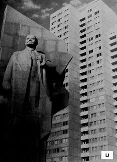 "socheritage: ""Lenin at Leninplatz, East Berlin, Germany, created in 1970 by Nikolai Tomski, removed in 1991-2. "" #socialist #brutalism #architecture"