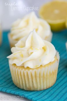 These are the Perfect Triple Lemon Cupcakes; lemon flavor in every single bite! These are the Perfect Triple Lemon Cupcakes; lemon flavor in every single bite! Lemon Desserts, Köstliche Desserts, Lemon Recipes, Delicious Desserts, Yummy Food, Plated Desserts, Lemon Cupcakes, Yummy Cupcakes, Yellow Cake Cupcakes