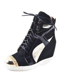 Black Leather Wedge Trainers With Metal Toe