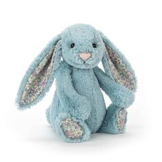 """Jellycat Blossom Aqua Bunny Medium This beautiful coloured bunnyis a popular fellow with scrummy-soft Jellycat fur and lovely, long, floppyears mean that with just one cuddle, you'll never want to let go. Medium31cm/12.2"""" in size, CE label suitable from birth. Never leave unattended in cot."""