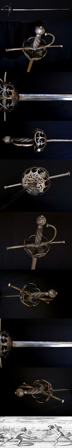 Taza Spanish Cup Hilt Rapier XVII th century.    Taza Rapier, which means bowl in Spanish, XVII th century style, Viollet le Duc period. This is a good example of a rapier, the weapon used by the famous three musketeers, Cyrano de Bergerac and other heroes of the XVII th century.