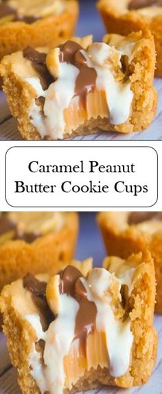 Caramel Peanut Butter Cookie Cups - 2 Bakery - Healt and fitness Chocolate Cookie Recipes, Peanut Butter Cookie Recipe, Easy Cookie Recipes, Cupcake Recipes, Chocolate Chip Cookies, Baking Recipes, Dessert Recipes, Baking Ideas, Caramel