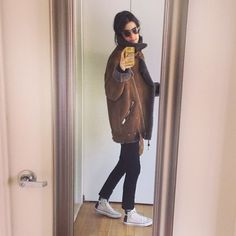 AcneVelocite shearling biker jacket | Spotted on @Man Repeller