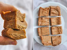 Healthy fudge with peanut butter Vegan Treats, Vegan Desserts, Raw Food Recipes, Baking Recipes, Dessert Recipes, Healthy Sweets, Healthy Baking, Healthy Fudge, Healthy Food