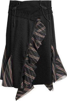 Sacai - Ruffled Silk Organza-trimmed Pleated Poplin Skirt - Black - 2