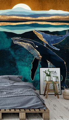 Feel like you're floating in the depths of the ocean amongst graceful whales, with this stunning Moonlit Whales wallpaper. The perfect mural to complement a rustic pallet bed which are completely on-trend right now! Style with dark grey bedding to mirror the dark tones in the mural and wooden furniture for a natural vibe. Get the look and shop the full collection at Wallsauce.com!